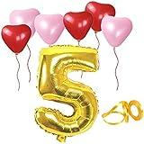 誕生日パーティー ハート型風船  飾り付け ゴールド 数字(5) 天然ゴム 風船セット(h1-f05)