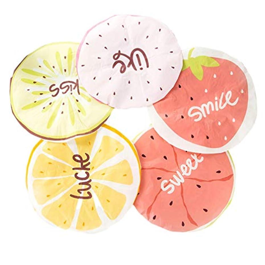 株式着替える少しLurrose 5ピース防水シャワーキャップフルーツシャワーキャップお風呂帽子レモンウォーターメレオンと大人のためのより多くのパターン