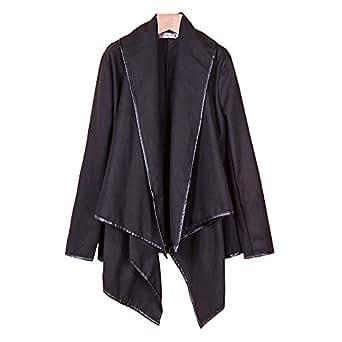 コート不規則ラップコート大きいサイズ 着やせ長袖 ケープ風コート ジャケット黒Y151012-24Fs_M