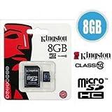 キングストンテクノロジーデジタル8?GB Micro SDHCクラス10メモリカードアダプターで。