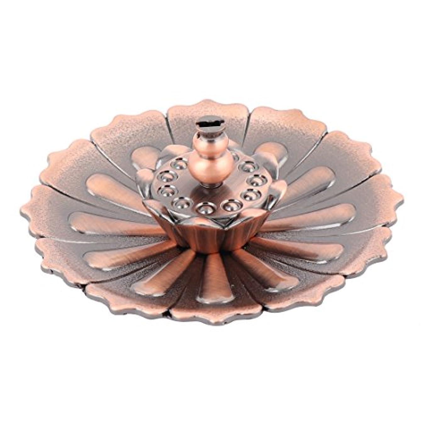 フォーマルメタリック統合するuxcell 香炉ホルダー お香立て インセンスホルダー 蓮 ロータス 花型 セット 金属製 家庭用 直径10cm