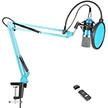 Neewer NW-700 Pro PC Microphone Kit with USB Sound Card Adapter, Shock Mount, Mic Suspension Scissor Arm Stand(Blue), Pop Filter for Computer Studio Recording Broadcast for YouTube Live Periscope