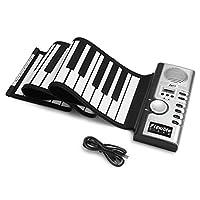 折りたたみピアノロールアップ電子デジタルピアノ61キー厚手シリコンハンドロールキーボード録音/プログラミング/再生/内蔵スピーカー,Silver