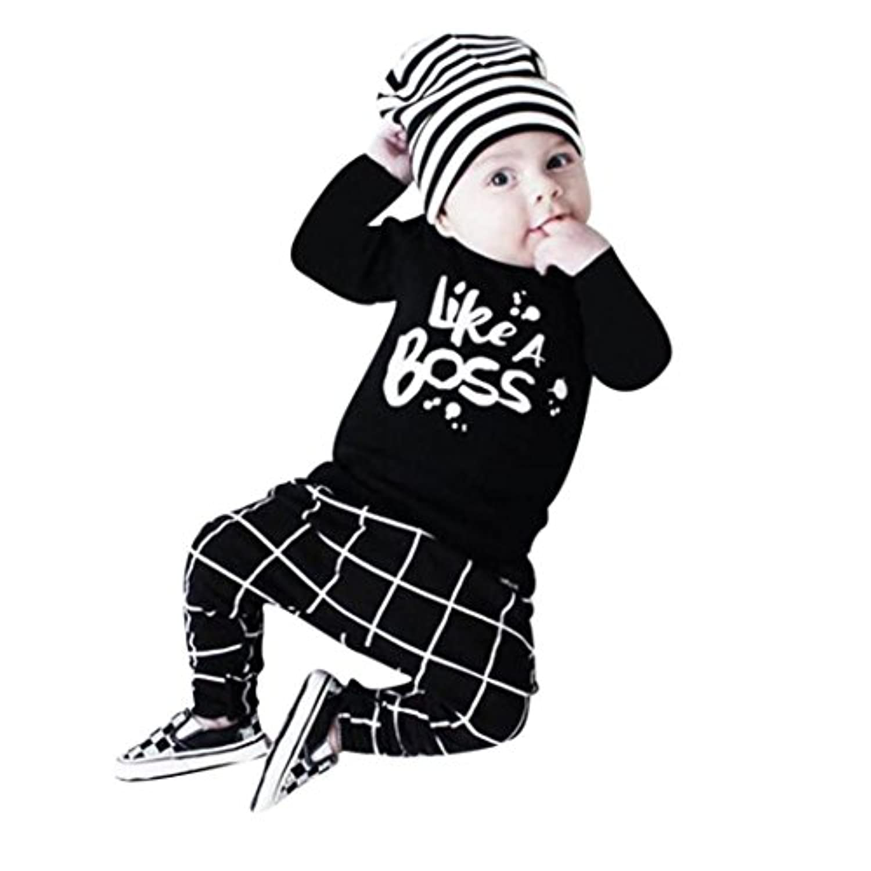 Like A Boss  英語文字 2点セット(上着+パンツ) かわいい ベビー服 男の子 赤ちゃん服 幼児 子供服 男の子 長袖 5サイズ 丸首 ロンパース カバーオール 満月/出産祝い/プレゼント 60CM-70CM-80CM-90CM-100CM(0ヶ月-24ヶ月)