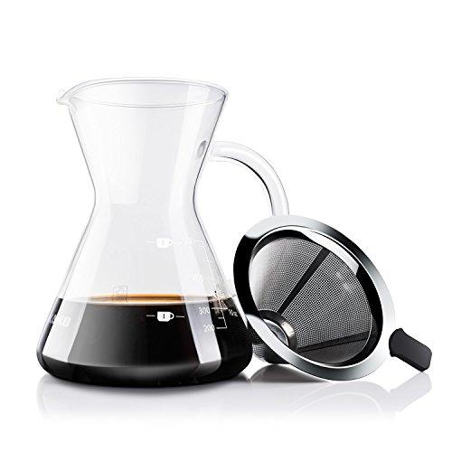 コーヒーサーバー コーヒードリッパー クリスマス プレゼント Love-KANKEI スポンジブラシ付属 耐熱ガラス ステンレスフィルター 2層メッシュ フィルター不要 電子レンジ可 2-4人分 500Ml