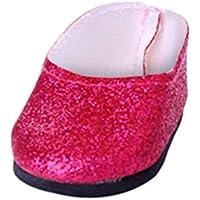 ノーブランド品  ファッション ドール ブリンブリン シューズ  18インチ アメリカンガールドール用 10色選べる - ローズレッド