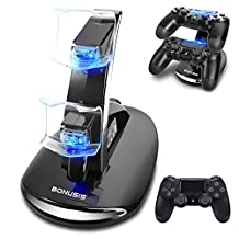 BONUSIS PS4 Controller Fast Charge Station -Dual USB Simultaneous Charger Dual Charging Dock Cradle Stand Accessory for Sony Playstation 4 Gaming Control with LED Indicator + Micro USB Cable (Black)