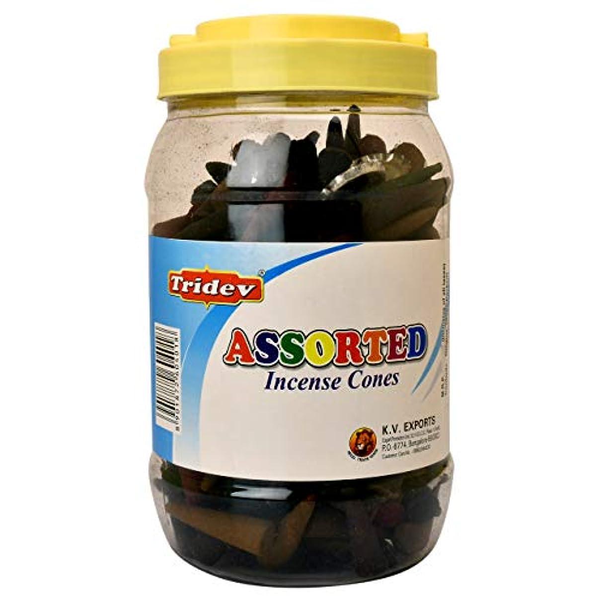 気球日焼け起点Tridev Assorted Incense Cones Jar 500グラムパック