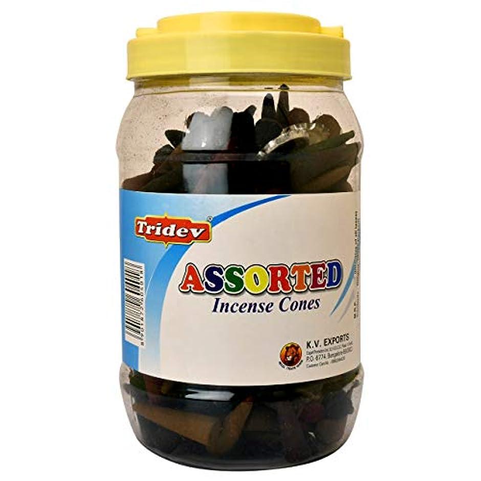 Tridev Assorted Incense Cones Jar 500グラムパック