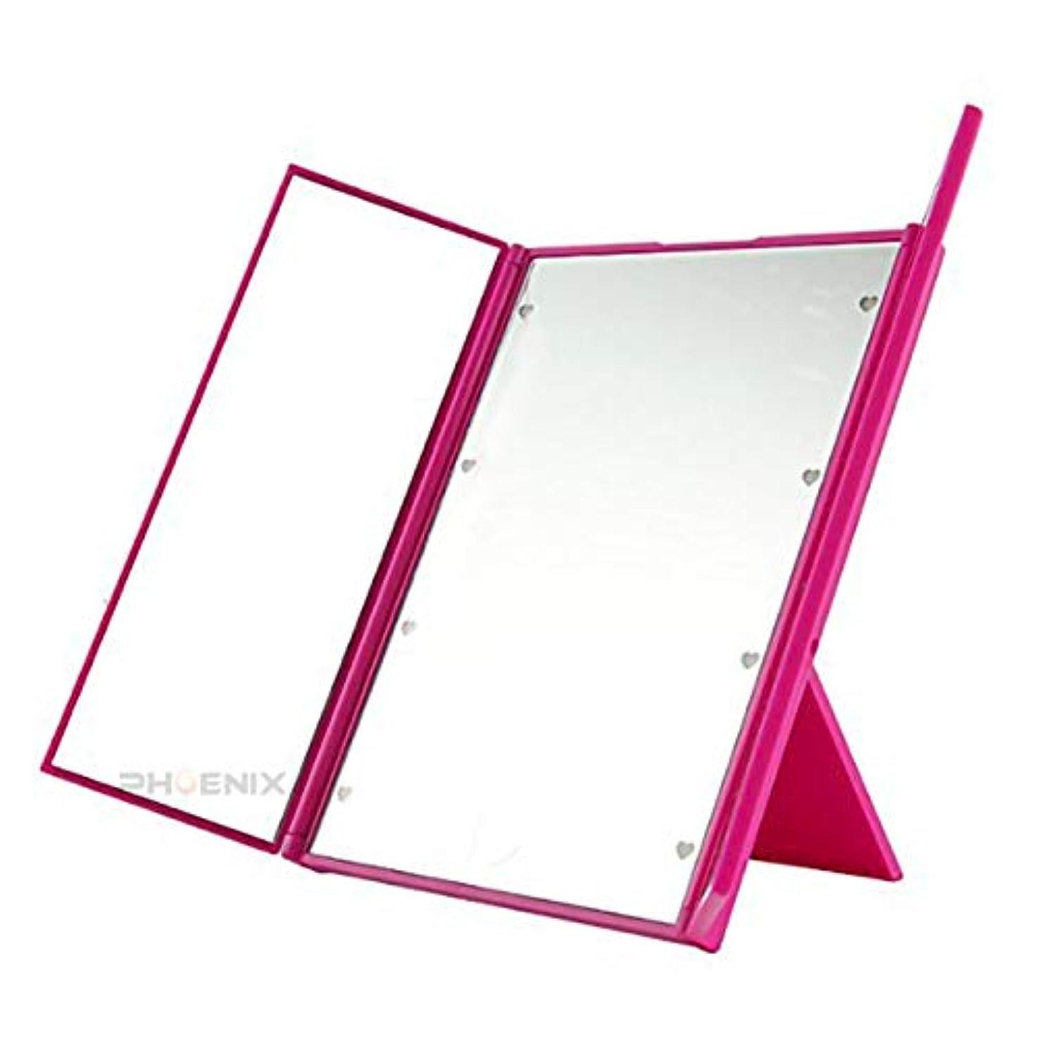 報復治世干ばつ鏡 卓上 卓上ミラー led ライト付き 三面鏡 かわいい 女優ミラー 化粧鏡 折りたたみ 持ち運び コンパクト 3カラー 三面鏡,ピンク