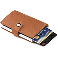 TERSELY Credit Card Holder RFID Blocking Wallet Slim Wallet PU Leather Vintage Aluminum Business Card Holder Automatic Side Slide Trigger Card Case Wallet Security Travel Wallet