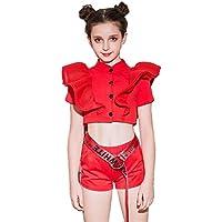 キッズ ダンス 衣装 セットアップ 女の子 ジャズダンス衣装 ダンス衣装ヒップホップ チアガール 衣装 コスチューム 女の子 ダンス 衣装 (レッド, 130)