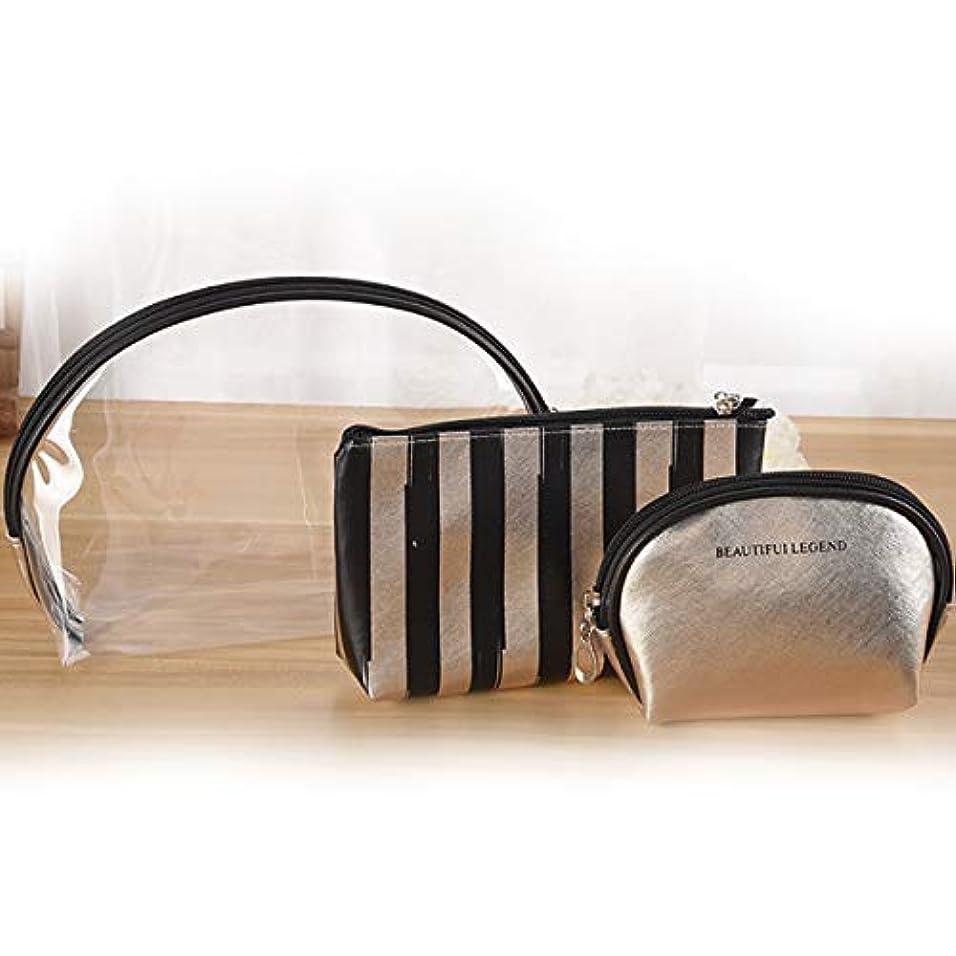 墓シニスタバコ化粧ポーチ 化粧品バッグ 防水透明メイクポーチ コスメ 化粧道具収納バッグ 大容量 小物入れ 多機能 3点セット「ゴールド」DXH出品
