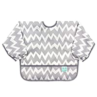 Bumkins Sleeved Baby Toddler Bib|Waterproof, Washable, Stain and Odor Resistant, 6 to 24 Mths+, Gray Chevron