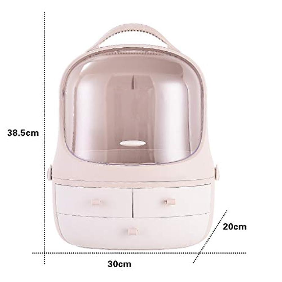驚いた貼り直す道路化粧品収納ボックス女性防塵デスクトップ引き出し家庭用ドレッシングテーブルスキンケア製品収納ボックス (Color : Pink)