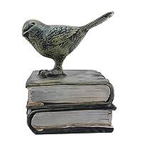 MODMHB ブックエンド おしゃれ アンティーク かわいい 鳥 本立て ブックスタンド バードブックエンド 樹脂,黒