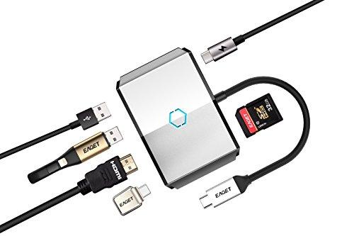 USB Type-C ハブ, Eaget USB Type-C 6ポート Hub, 変換アダプタ 対応 Macbook 12イン&USB-C デバイス 充電, 多機能 アクテイブ高速 変換ケーブル付1ポート(USB Type-C 3.1) 搭載 5ポート(2 USB3.0+1 HDMI+Type-C+1 SD/TF)