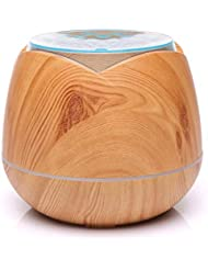 涼しい霧の空気加湿器、家、ヨガ、オフィス、鉱泉、寝室のために変わる色LEDライトと超音波400ml - 木目 - (Color : Light wood grain)
