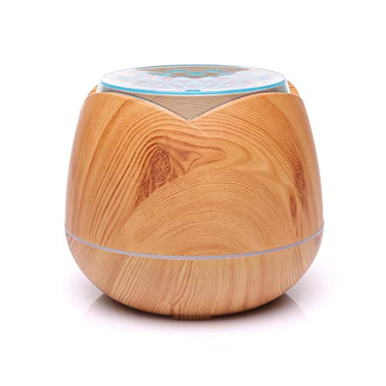 ボランティア数学麦芽涼しい霧の空気加湿器、家、ヨガ、オフィス、鉱泉、寝室のために変わる色LEDライトと超音波400ml - 木目 - (Color : Light wood grain)