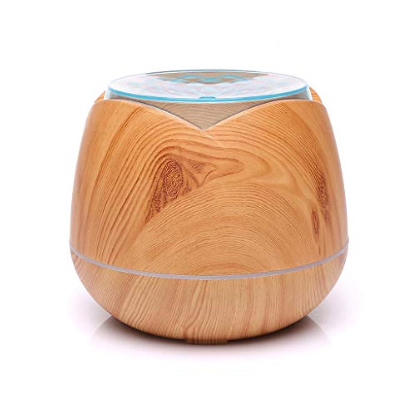 ストロー折る拍手する涼しい霧の空気加湿器、家、ヨガ、オフィス、鉱泉、寝室のために変わる色LEDライトと超音波400ml - 木目 - (Color : Light wood grain)