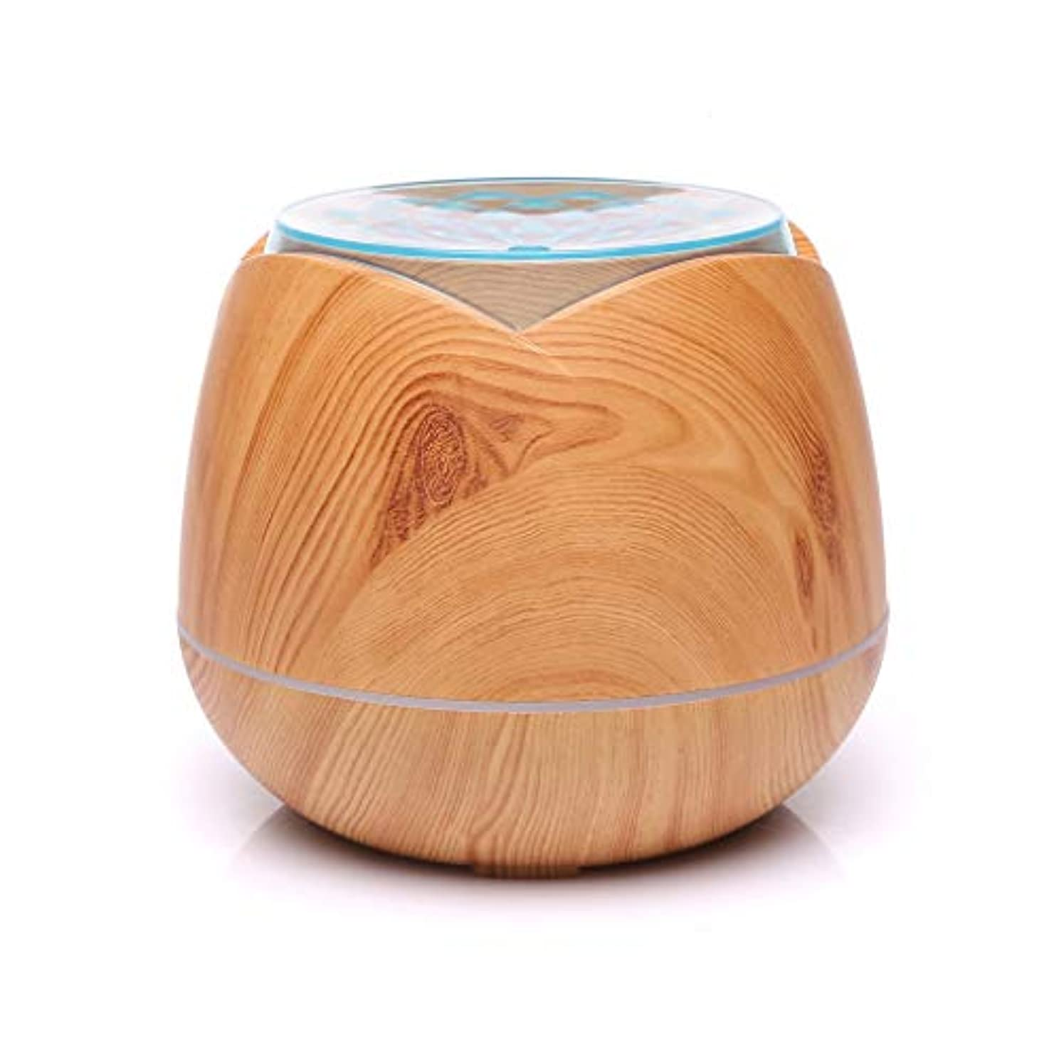 かんがい最終協会涼しい霧の空気加湿器、家、ヨガ、オフィス、鉱泉、寝室のために変わる色LEDライトと超音波400ml - 木目 - (Color : Light wood grain)