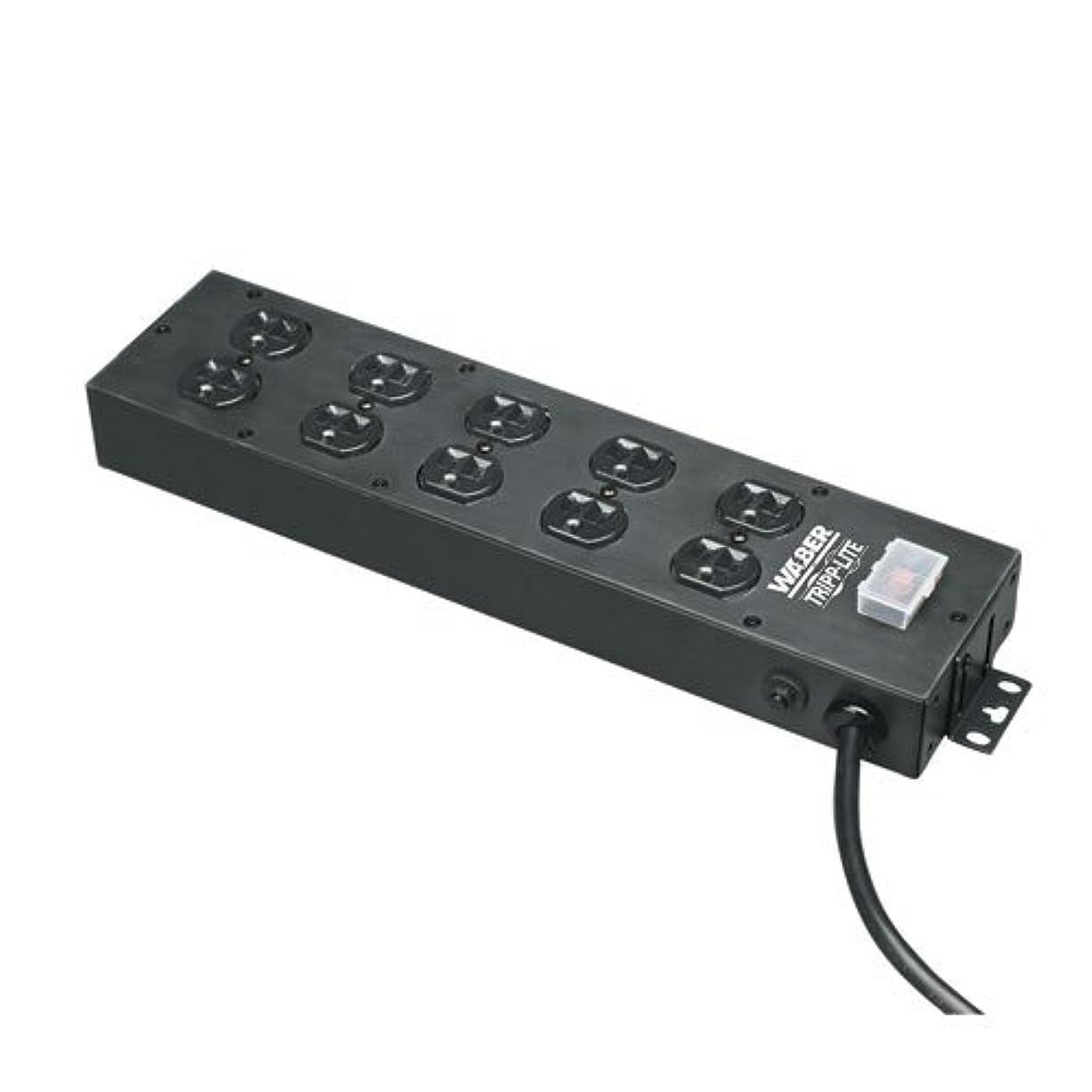 サーマルいつも飛躍Tripp Lite Waber Power Strip 120V 5-15R 10 Outlet Metal 15' Cord 5-15P - Power distribution strip - 15 A - AC 120 V - input: NEMA 5-15 - output connectors: 10 ( NEMA 5-15 ) - black, blue gra