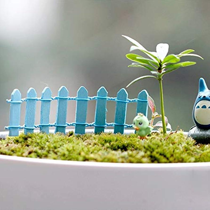 幻影目指すピザJicorzo - 20個DIY木製の小さなフェンスモステラリウム植木鉢工芸ミニおもちゃフェアリーガーデンミニチュア[青]