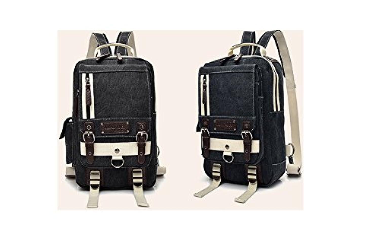 リュックサック 斜め掛け マザーズバッグ キャンバス バックパック 大容量 リュック 人気 男女兼用 (ブラック)