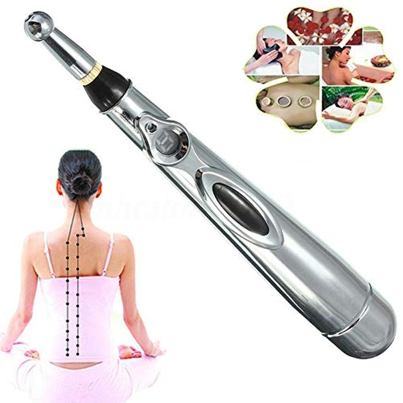 無礼に住人ホラー電子鍼ペン、2つのマッサージヘッド機能付き子午線エネルギー痛み療法の救済1 x AAバッテリー(別売)