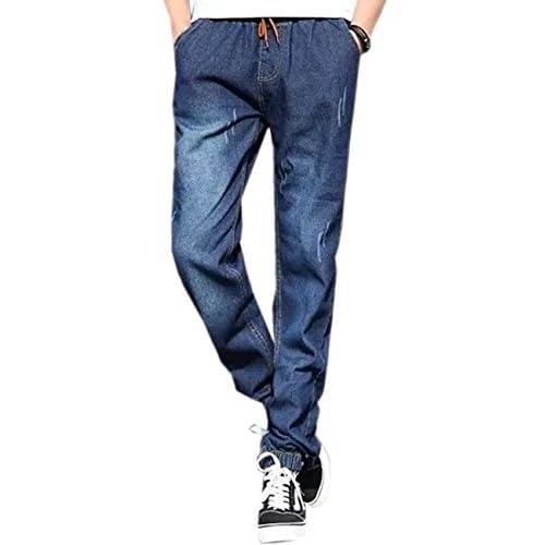 (シャンディニー) Chandeny ウォッシュド デニム風 コットン パンツ メンズ リラックスパンツ ロング ズボン 14743 ダークブルー XL サイズ