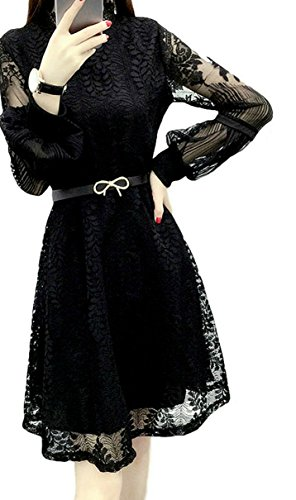 (モモチ)momotiちょっぴりセクシーオトナ可愛いレース袖一枚仕上げレディースフォーマルドレスワンピース結婚式パーティーベルト付き(XL,ブラック)
