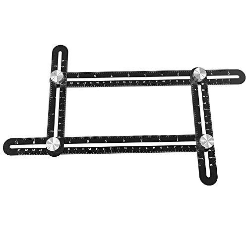 Bengoo 定規スコヤ 自由 筋交付き 多角度テンプレートツール レーザー刻印 目盛 折り畳み 250mm 大工道具 学生 職人工具 アルミ合金製 黒