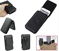DFV mobile - Leather Flip Belt Clip Case Holster Vertical for => FLY IQ4490I ERA NANO 10 > Black