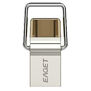 EAGET 2-in-1USBメモリ[USB 3.0とTYPE-C USB 3.1] OTG機能付き スマートフォン・Mac・タブレット・PC等対応のデュアルUSBフラッシュメモリ( 防水・防塵・耐衝撃) CU10 (16GB)