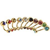 Baosity 10Pcs Colorful Stainless Steel Navel Rings Belly Button Ring Bar Piercing