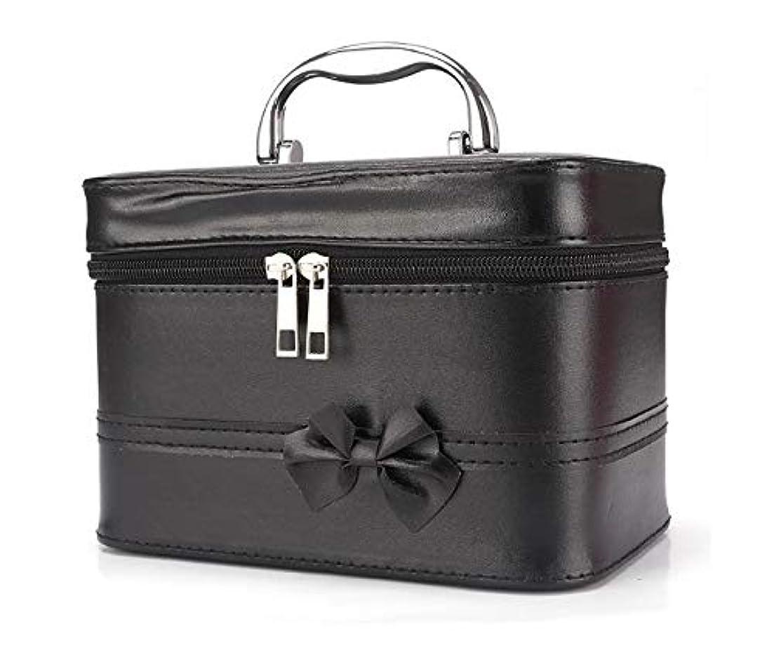 漏れオリエンテーション自殺化粧箱、弓スクエアポータブル化粧品袋、ポータブルポータブル旅行化粧品ケース、美容ネイルジュエリー収納ボックス (Color : ブラック)
