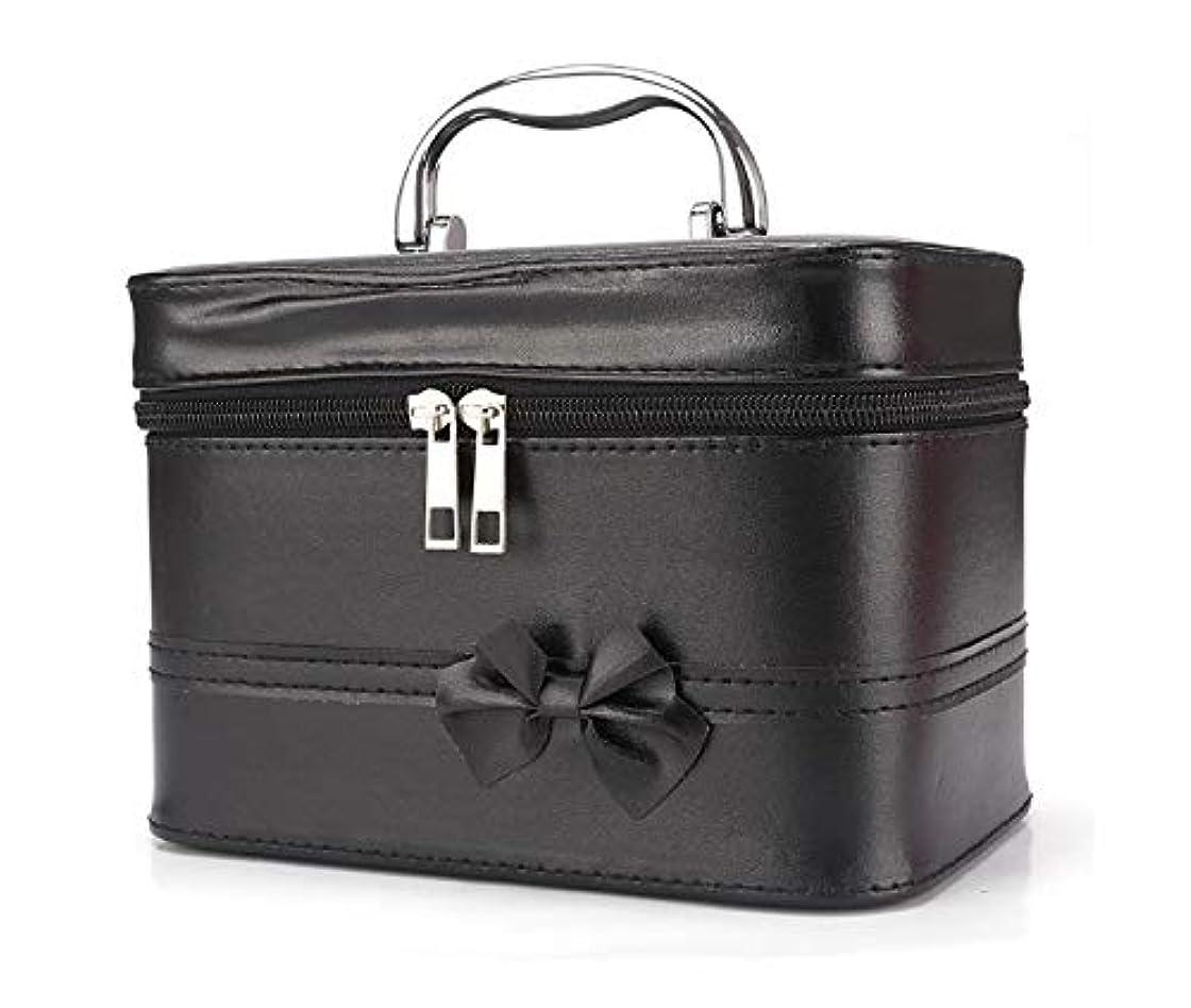仕えるストローク韓国化粧箱、弓スクエアポータブル化粧品袋、ポータブルポータブル旅行化粧品ケース、美容ネイルジュエリー収納ボックス (Color : ブラック)
