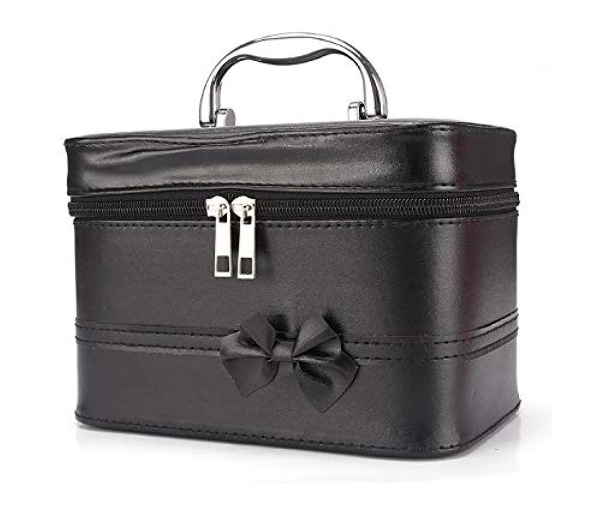 ブラウス本気突破口化粧箱、弓スクエアポータブル化粧品袋、ポータブルポータブル旅行化粧品ケース、美容ネイルジュエリー収納ボックス (Color : ブラック)