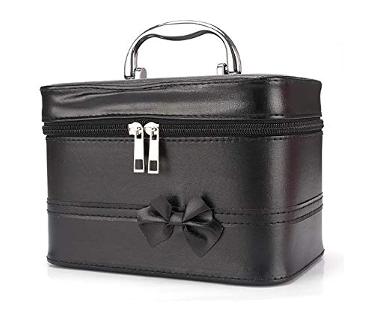 匿名知り合い縞模様の化粧箱、弓スクエアポータブル化粧品袋、ポータブルポータブル旅行化粧品ケース、美容ネイルジュエリー収納ボックス (Color : ブラック)