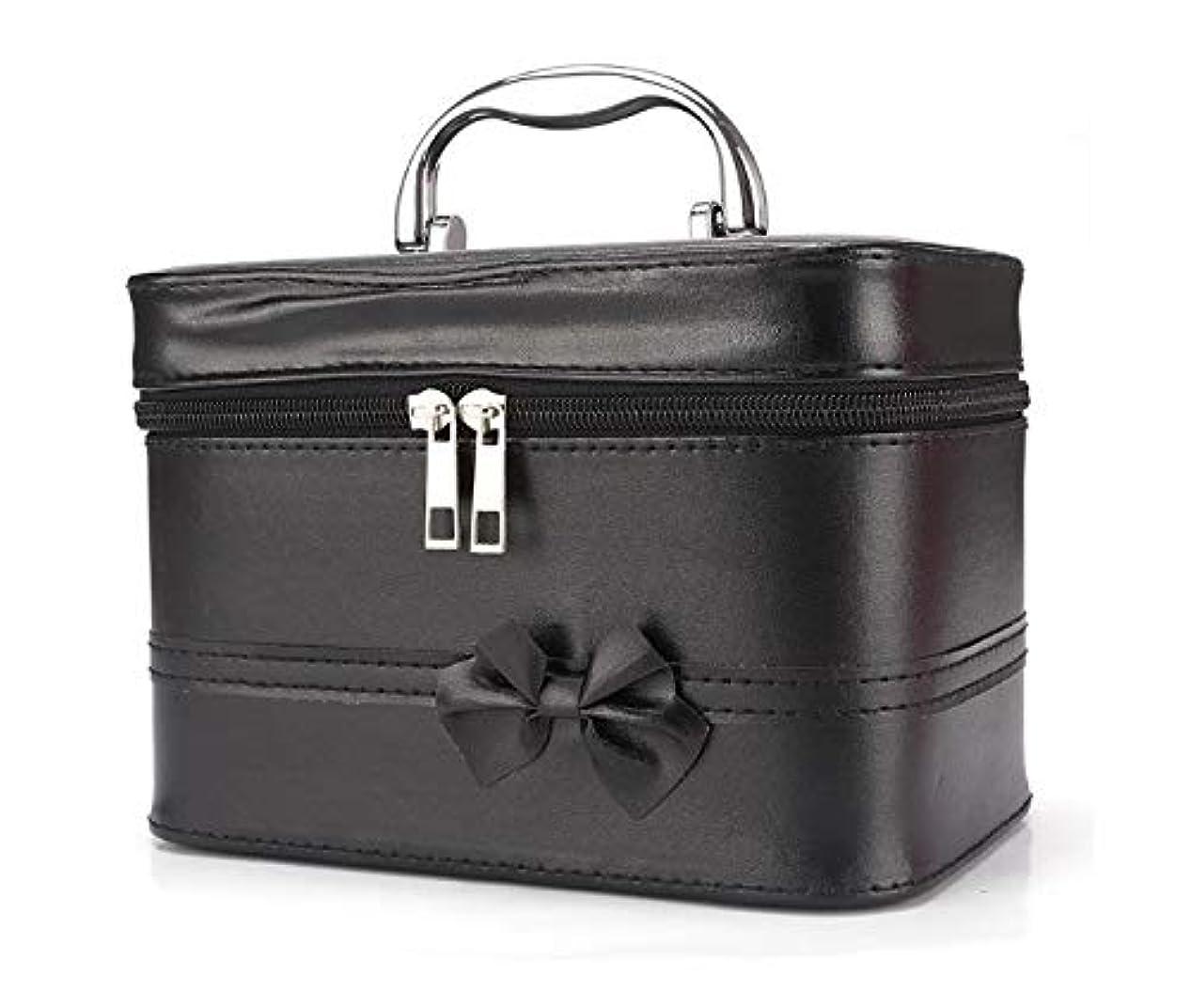 その後反発するクスクス化粧箱、弓スクエアポータブル化粧品袋、ポータブルポータブル旅行化粧品ケース、美容ネイルジュエリー収納ボックス (Color : ブラック)