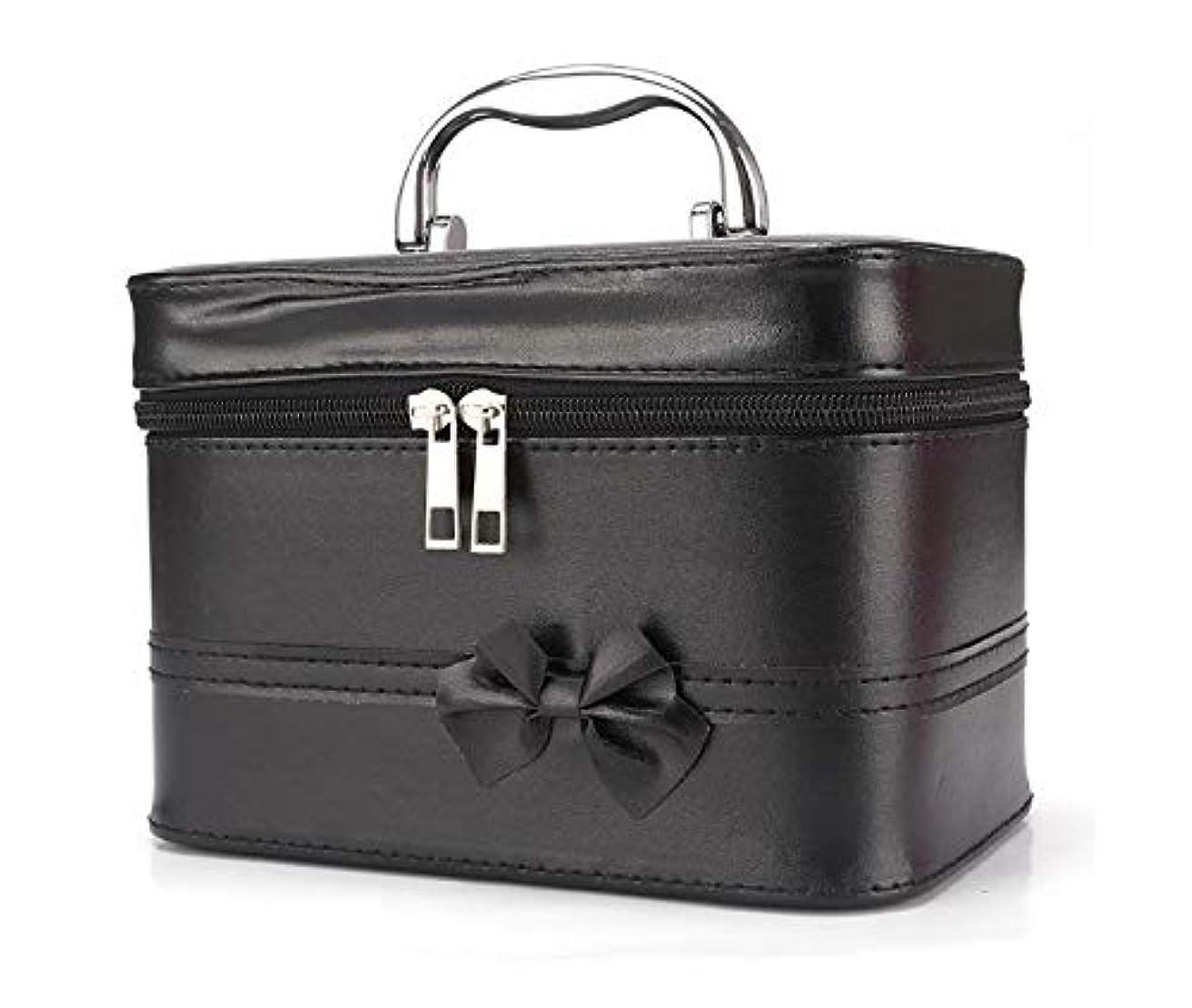 患者作動するで出来ている化粧箱、弓スクエアポータブル化粧品袋、ポータブルポータブル旅行化粧品ケース、美容ネイルジュエリー収納ボックス (Color : ブラック)