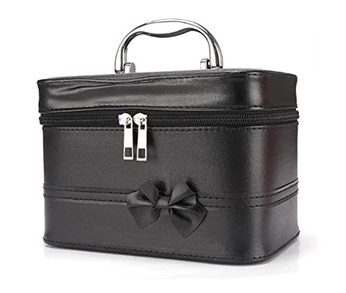 成り立つフレキシブルマークダウン化粧箱、弓スクエアポータブル化粧品袋、ポータブルポータブル旅行化粧品ケース、美容ネイルジュエリー収納ボックス (Color : ブラック)