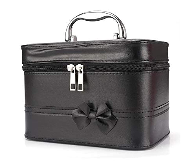 スラッシュスカウト乏しい化粧箱、弓スクエアポータブル化粧品袋、ポータブルポータブル旅行化粧品ケース、美容ネイルジュエリー収納ボックス (Color : ブラック)