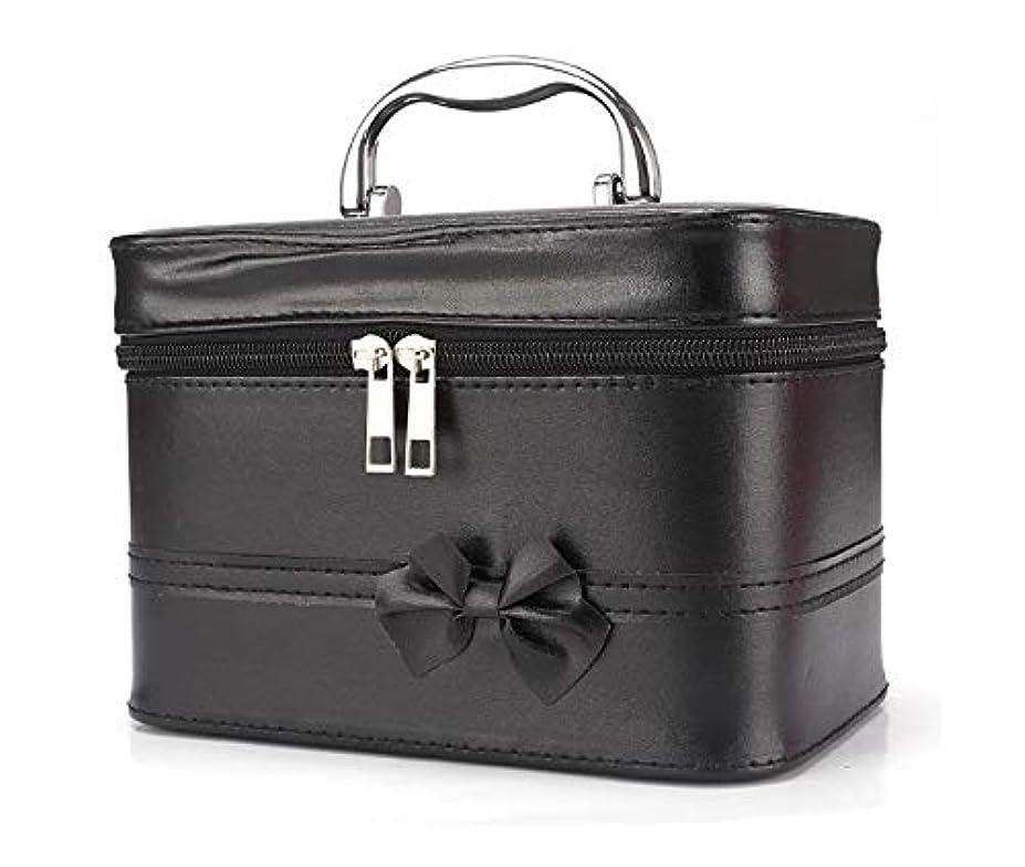 スピーチ深く書士化粧箱、弓スクエアポータブル化粧品袋、ポータブルポータブル旅行化粧品ケース、美容ネイルジュエリー収納ボックス (Color : ブラック)