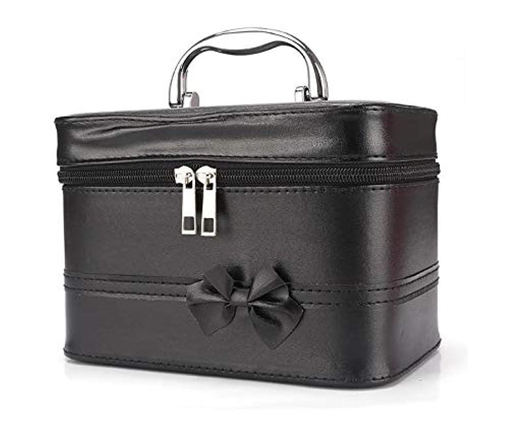 重要なはねかける動かす化粧箱、弓スクエアポータブル化粧品袋、ポータブルポータブル旅行化粧品ケース、美容ネイルジュエリー収納ボックス (Color : ブラック)
