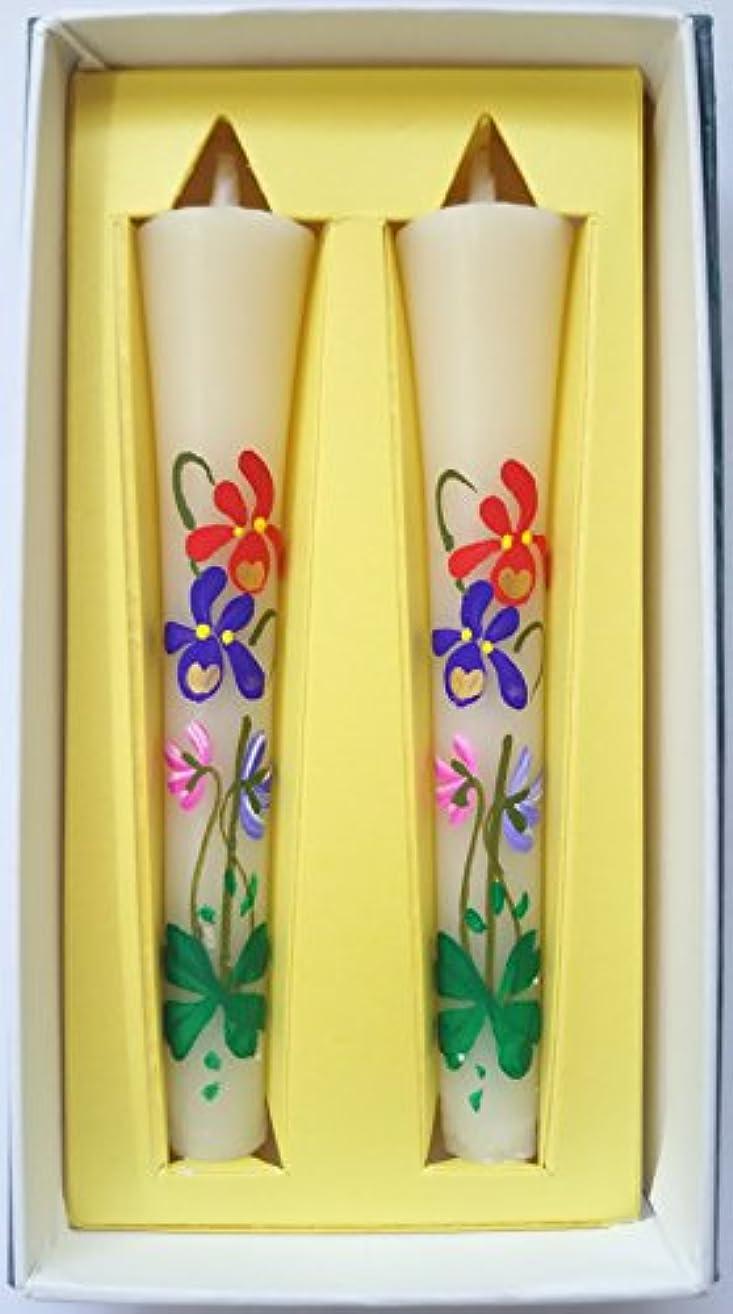 破滅累積穏やかな花ろうそく 菫 和ろうそく 絵ろうそく スミレ 手書き 2本入り 淡路梅薫堂 #3053