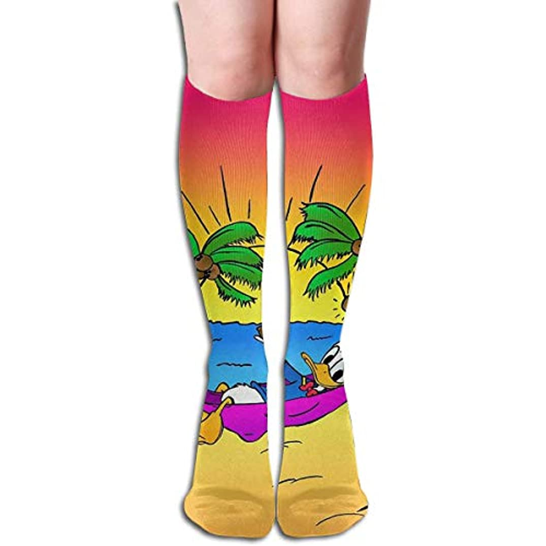 贅沢な並外れて考慮qrriyドナルドダックビーチタイムチューブストッキングレディース冬暖かい暖かいハイソックスブーツ靴下