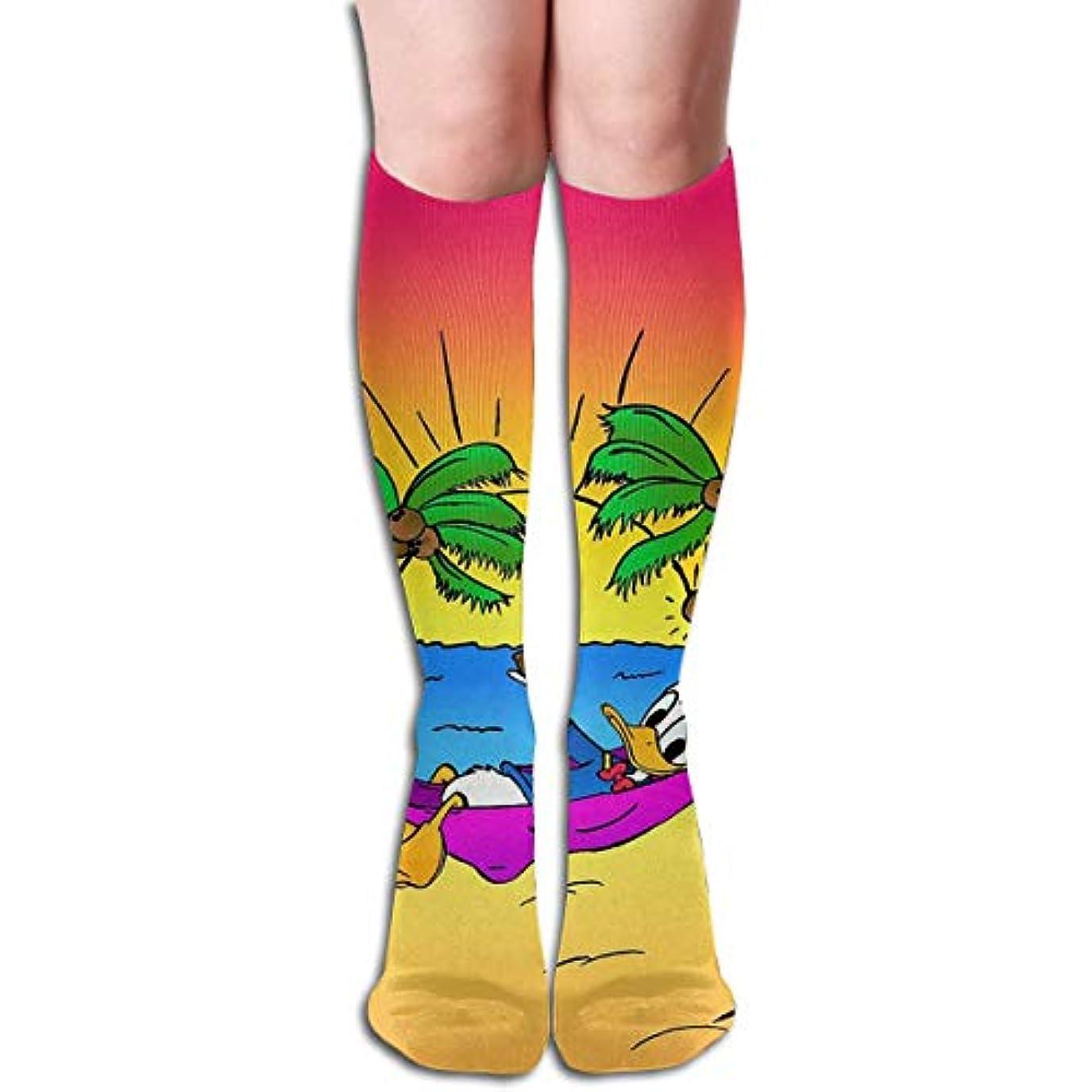 細い輸血優遇qrriyドナルドダックビーチタイムチューブストッキングレディース冬暖かい暖かいハイソックスブーツ靴下