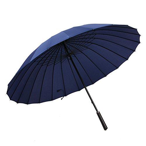 長傘 大きな傘 紳士傘 耐風傘 24本骨 新強化グラスファイバー傘骨 超耐風撥水 梅雨対策 台風対応 収納ポーチ付き 男女兼用 (ネイビー)