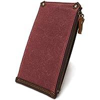 LDUNDUN-BAG, 2019 Men's Retro Waterproof Canvas Bag Wallet Zipper Canvas Long Multi Card Wallet (Color : Pink, Size : S)